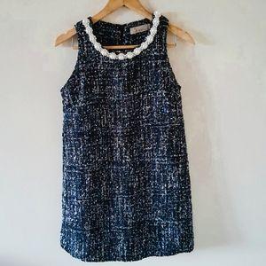 Pearl Collar Embroidered Threads Mini Sheath Dress